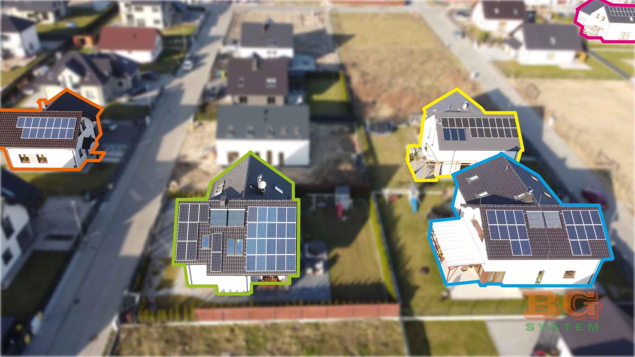 PONE Zabrze – zdjęcie z drona, przedstawiające 5 domków z naszą instalacją